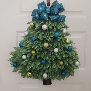 Handmade Peacock Christmas tree wreath,Door wreath